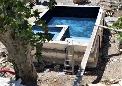 piscine spa vue haut travaux